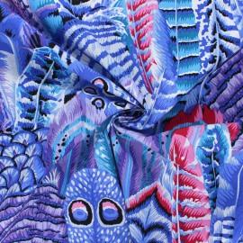 Tissu popeline de coton Kaffe Fassett Feathers - violet x 10cm