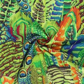 Tissu popeline de coton Kaffe Fassett Feathers - vert clair x 10cm