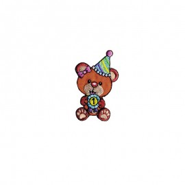 Festive Bear Cub Iron-On Patch - brown