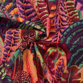 Tissu popeline de coton Kaffe Fassett Feathers - orange x 10cm