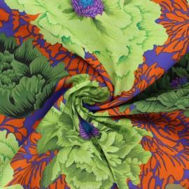 Tissu popeline de coton Kaffe Fassett Brocade peony - violet foncé x 10cm