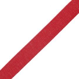30 mm polyester lurex strap - red/silver x 1m
