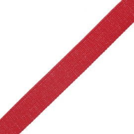 Sangle polyester lurex 30 mm - rouge/argent x 1m