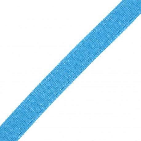30 mm polyester lurex strap - blue/silver x 1m