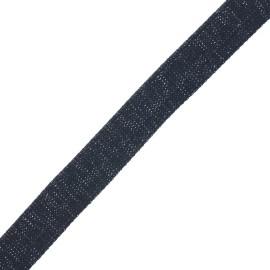 Sangle polyester lurex 30 mm - bleu nuit/argent x 1m