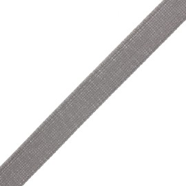 30 mm polyester lurex strap - taupe/silver x 1m