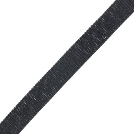 Sangle polyester lurex 30 mm - noir/argent x 1m