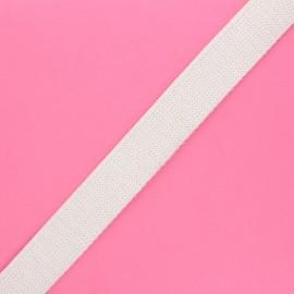30 mm polyester lurex strap - white/gold x 1m