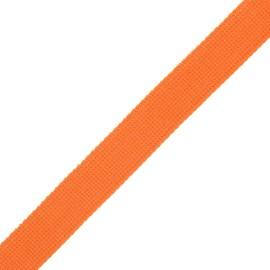 30 mm polyester lurex strap - orange/gold x 1m