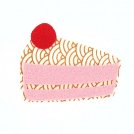 Felt-fabric big piece of cake iron-on applique - pink
