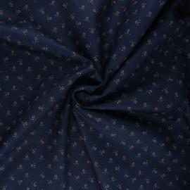 Tissu coton Poppy Sweet Flowers - bleu nuit x 10cm