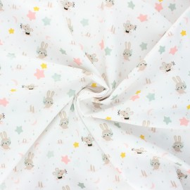 Poppy poplin cotton fabric - white Swimming animals x 10cm