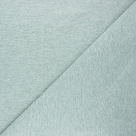 Plain french terry fabric - mottled sage green x 10cm