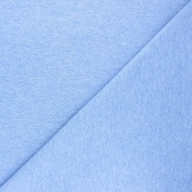 Plain french terry fabric - mottled blue x 10cm
