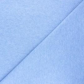Tissu sweat léger uni - bleu chiné x 10cm