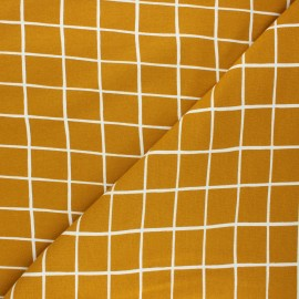 Poppy sweatshirt fabric - mustard yellow Grid x 10cm