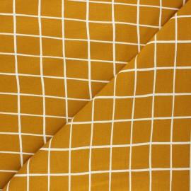 Tissu sweat Poppy Grid - jaune moutarde x 10cm