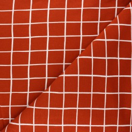 Poppy sweatshirt fabric - rust Grid x 10cm