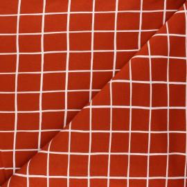 Tissu sweat Poppy Grid - rouille x 10cm