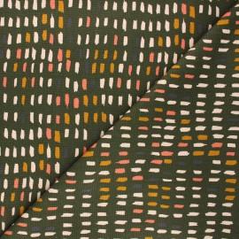 Poppy canvas cotton fabric - khaki Paint pallet x 10cm