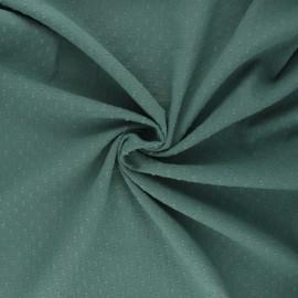 Tissu voile de coton froissé plumetis - eucalyptus x 10cm