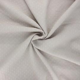 Tissu voile de coton froissé plumetis - grège x 10cm