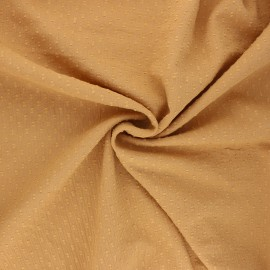 Tissu voile de coton froissé plumetis - miel x 10cm