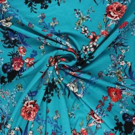 Tissu jersey viscose Sigma - bleu lagon x 10 cm