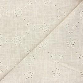 Openwork linen and viscose fabric - natural Irma x 10 cm