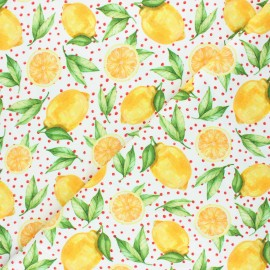 Stenzo jersey cotton fabric - white Citrus love x 10cm