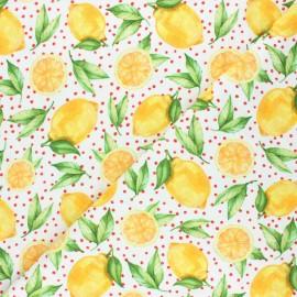 Tissu coton jersey Stenzo Citrus love - blanc x 10cm