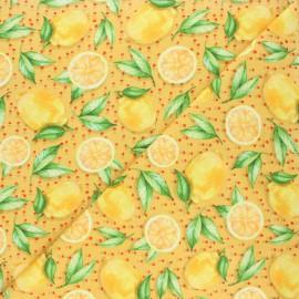 Tissu coton jersey Stenzo Citrus love - jaune moutarde x 10cm