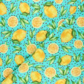 Tissu coton jersey Stenzo Citrus love - bleu lagon x 10cm