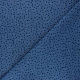 Patterned elastane jeans fabric - blue Little roses x 10cm