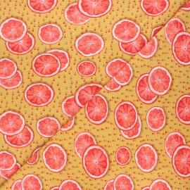 Stenzo jersey cotton fabric - ochre Pamplemousse x 10cm