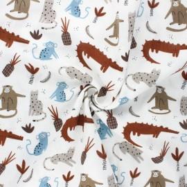 Double gauze fabric - blue Peaceful animals x 10cm