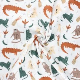 Double gauze fabric - camel Peaceful animals x 10cm