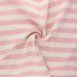 Tissu double gaze de coton Listras - rose x 10cm