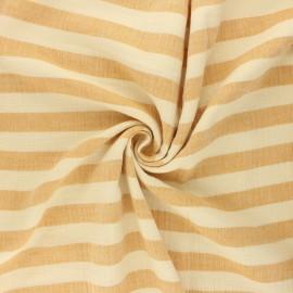 Tissu double gaze de coton Listras - ocre x 10cm