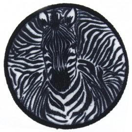 Round-shaped 3 D Zebra iron-on applique - black & white