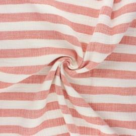 Tissu double gaze de coton Listras - corail x 10cm
