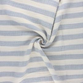 Tissu double gaze de coton Listras - bleu clair x 10cm