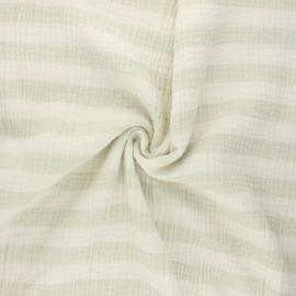 Tissu double gaze de coton Listras - vert amande x 10cm