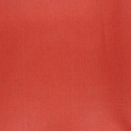 Coated washed linen fabric - red brick x 10cm