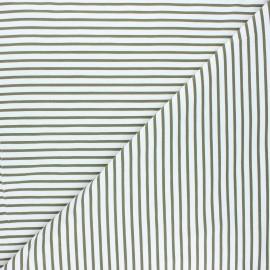Tissu coton jersey Stenzo Stripy - kaki x 10cm