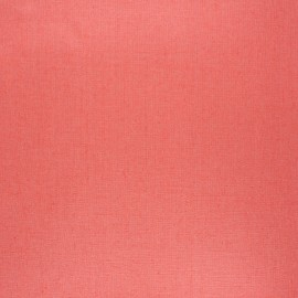 Coated washed linen fabric - coral pink x 10cm