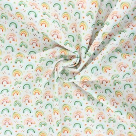 Stenzo poplin cotton fabric - white Rainbow life x 10cm