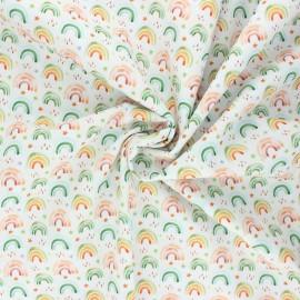 Tissu popeline de coton Stenzo Rainbow life - blanc x 10cm