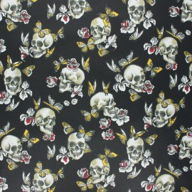 Tissu coton cretonne enduit Butterfly skull - noir x 10cm