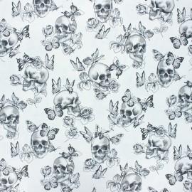 Coated cretonne cotton fabric - white Butterfly skull x 10cm